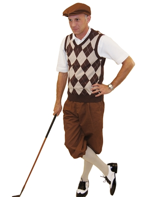 Mens Golf Outfit Brown Knickers And Flat Cap With Brown